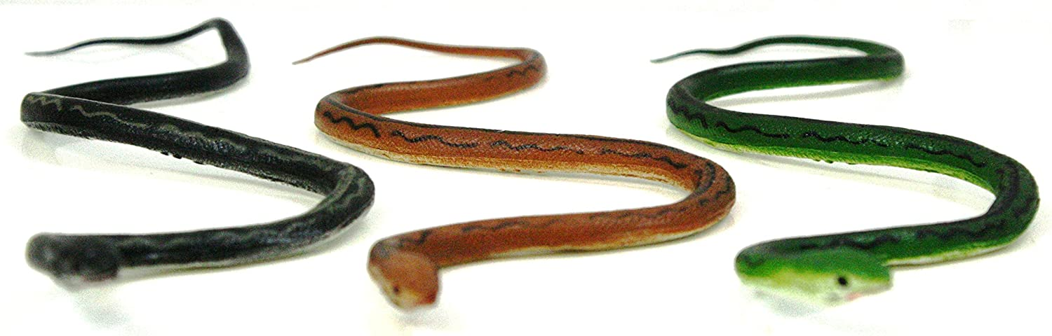 Phil Seltzer Realistic Rubber Snakes (Set of 3), Black, Brown & Green, 12