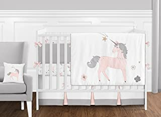 Sweet Jojo Designs 9 Piece Pink, Grey and Gold Unicorn Baby Girl Crib Bedding Set with Bumper