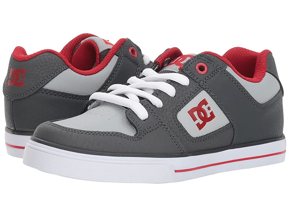 DC Kids Pure (Little Kid/Big Kid) (Grey/Grey/Red) Boys Shoes