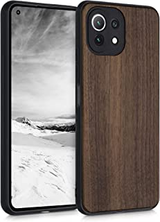 kwmobile telefoonhoesje compatibel met Xiaomi Mi 11 Lite (5G) - Hoesje met bumper in donkerbruin - Back cover - walnoothout