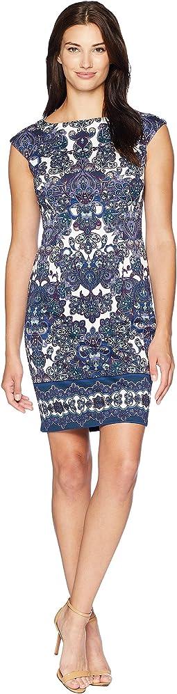 Printed Ponte Cap Sleeve Dress