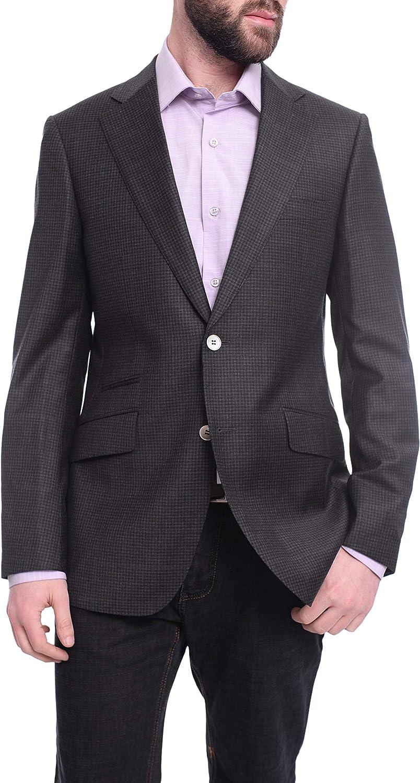 Napoli Slim Fit Gray Check Half Canvassed Super 150s Wool Blazer Sportcoat