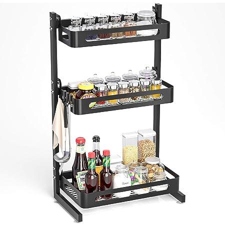 SOLEDI Étagère à Épices avec 3 Niveaux, Support de Rangement pour comptoir de Cuisine en Acier Inoxydable, Robuste et Durable, maximise l'espace de Cuisine, Facile à Assembler