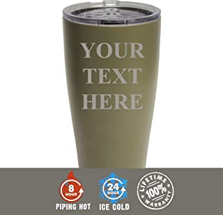 Engraved Custom SIC Cup Tumbler - Personalized 20 oz Powder Coated Cups with Double Walled Vacuum Sealed - Your Text Here Design (Khaki)