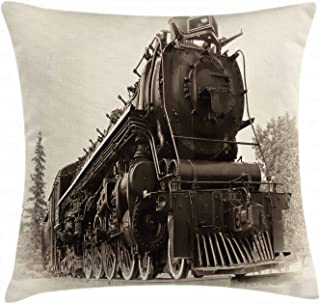 Ambesonne Steam Engine Throw Pillow Cushion Cover, Antique Northern Express Train Canada Railways Photo Freight Machine Print, Decorative Square Accent Pillow Case, 16