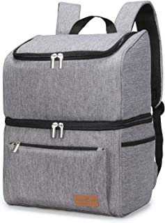 Lifewit 18L 32-Can Insulated Cooler Bag Backpack, Double Decker Lunch Bag Soft-Sided Cooling Bag for Beach/Picnic/Camping/BBQ, Grey
