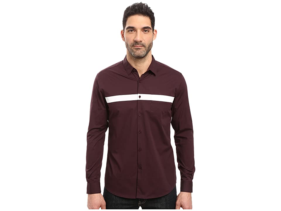 Image of 7 Diamonds Silver Linings Long Sleeve Shirt (Maroon) Men's Long Sleeve Button Up