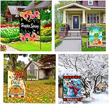 Yileqi Holiday and Seasonal Garden Flags Set 12 Pack Double Sided Yard Flags with Zipper Storage Bag, Halloween Fall Garden F
