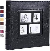 آلبوم عکس برای 600 4x6 عکس جلد چرمی ظرفیت بسیار بزرگ برای تعطیلات عروسی خانوادگی تعطیلات کودک (سیاه)