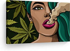 SmileArtDesign Smoke Wall Art Canvas Print Sexy Woman Smoking Marijuana to Pop Art Weed Home Decor Artwork Living Room Office Decor Ready to Hang - Made in The USA - 19x28