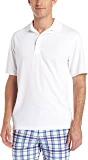 PGA TOUR Men's Short Sleeve Airflux Solid Polo Shirt, Bright White, L
