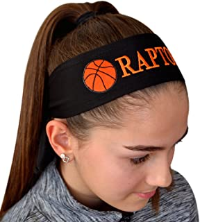 Basketball Tie Back Moisture Wicking Headband Personalized with the Embroidered Name of Your Choice