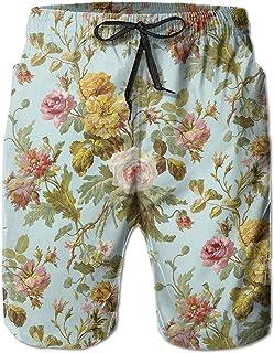 Lixinli Vintage Floral Pattern Men's Water Sports Beach Shorts