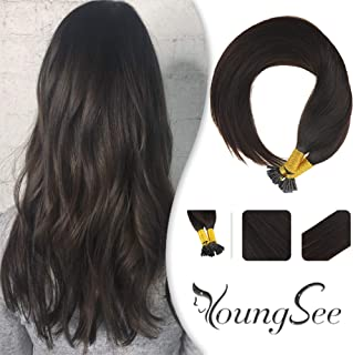 Youngsee 24 Inch Remy Straight I Tips Human Hair Extensions Pre Bonded Keratin Hair Extensions #2 Darkest Brown Stick Tip Extensions Fusion Human Hair 50 Strands 50g Per Package