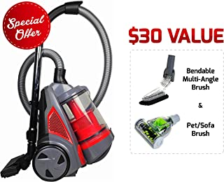 Ovente ST2620R Bagless Canister Cyclonic Vacuum – HEPA Filter – Includes Pet/Sofa, Bendable Multi-Angle, Crevice Nozzle/Bristle Brush, Retractable Cord – Featherlite – ST2620 Series, Red (Renewed)
