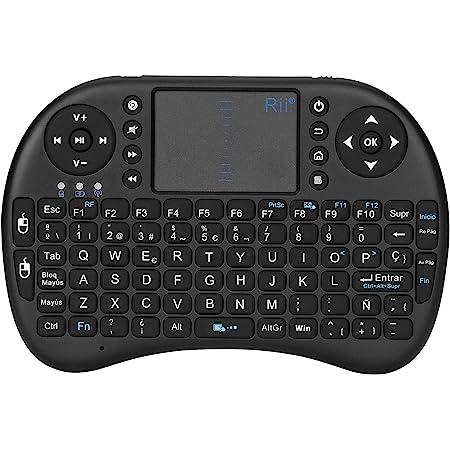 Rii Mini i8 - Teclado ergonómico con touchpad (RF 2.4 GHz ...