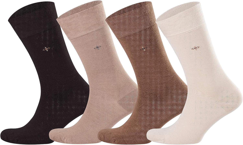 4 Pairs Mens Dress Bamboo Socks  Moisture Wicking Dress, Business, Casual, Seamless Socks 
