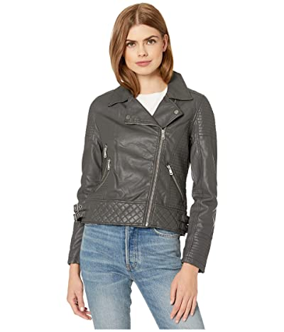 YMI Snobbish Faux Leather Jersey Lined Moto Jacket (Charcoal) Women