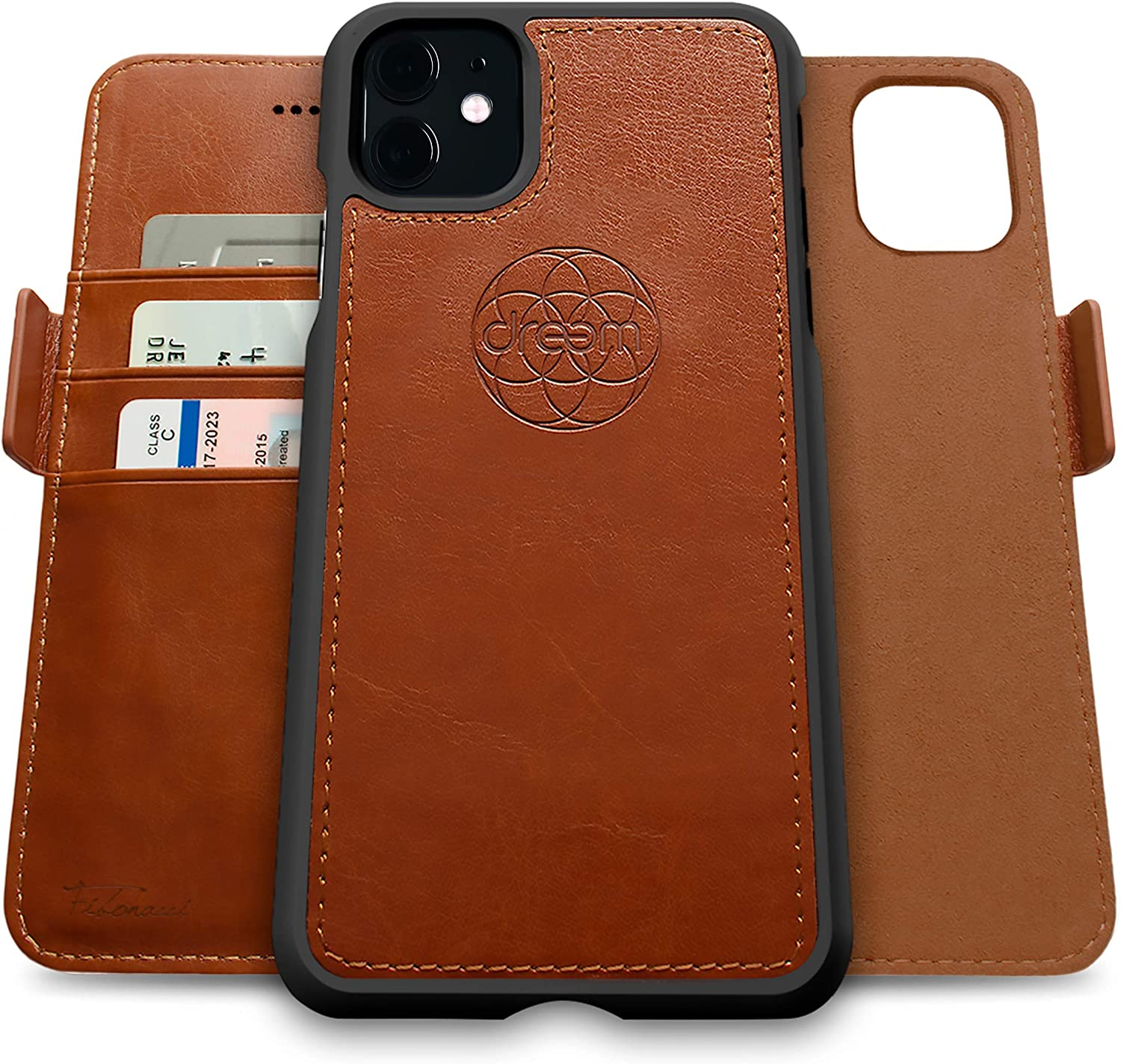 Dreem Fibonacci 2-in-1 Wallet-Case for Apple iPhone 11 - Luxury Vegan Leather, Magnetic Detachable Shockproof Phone Case, RFID Card Protection, 2-Way Flip Stand - Caramel