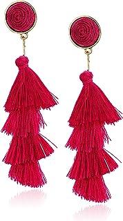Women's Stacked Tassel Post Drop Earrings, Pink, One Size