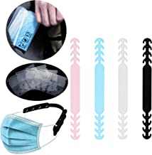 GOTONE 8PCS Mask Extender Anti-Slip Ear Clips Grips Band Extension Hook Adjustable Buckle Elastic Strap, 4PCS Storage Pocket + 4PCS Extender (Random Color)