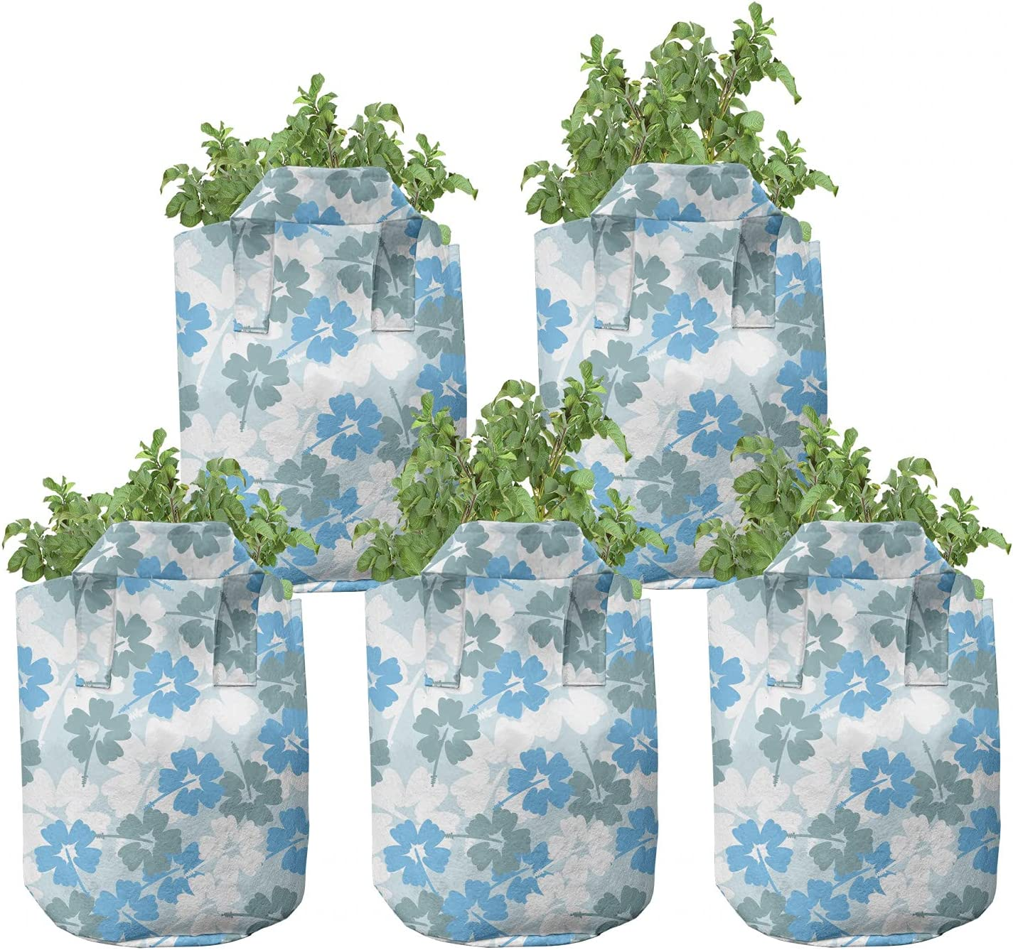 Max 42% OFF Ambesonne Floral Grow Bags 5-Pack H Blue Superlatite Vibes Blossoms Spring