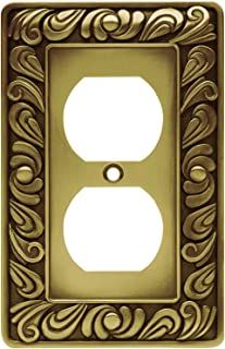 Franklin Brass 64045 Paisley Single Duplex Outlet Wall Plate/Switch Plate/Cover, Tumbled Antique Brass