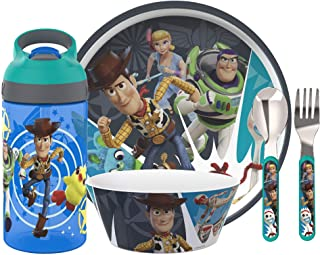 Zak Designs Toy story 4 Dinnerware Set Includes Plate, Bowl, Water Bottle, and Utensil Tableware, Made of Durable Material...