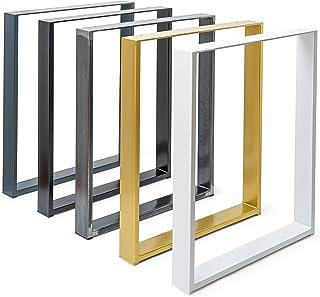 Set de 2 Table Châssis Design Industriel Plateau pour Table rétro métal Acier Table à Manger (B40 x H42 cm Blanc)