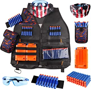 Kids Tactical Vest Kit for Nerf Guns N-Strike Elite Series with Refill Darts Dart Pouch, Reload Clip Tactical Mask Wrist B...
