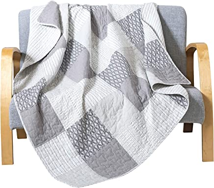 Soul & Lane in The Mist Cotton Real Patchwork Quilted Throw (50 x 60)