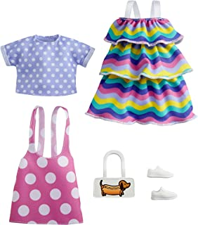 Barbie Fashions 2-Pack Clothing Set, 2 Outfits Doll Include Pink Polka-Dot Jumper, Purple Polka-Dot Top, Striped Dress & 2...