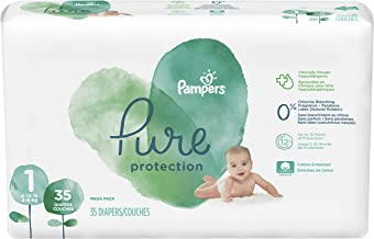 Diapers Newborn/Size 1 (8-14 lb), 35 Count - Pampers Pure Disposable Baby Diapers, Hypoallergenic and Unscented Protection