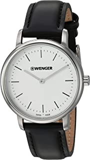 Wenger Women's Urban Classic Stainless Steel Swiss-Quartz Leather Strap, Black, 16.8 Casual Watch (Model: 01.1721.110)
