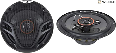 Pair Alphasonik AS26 6.5 inch 350 Watts Max 3-Way Car Audio Full Range Coaxial Speakers with Universal Mounting Holes for ... photo
