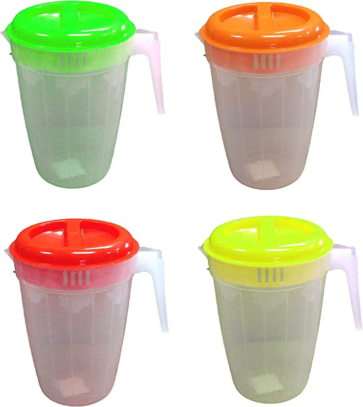 Set Of 4 Black Duck Brand Plastic Pitcher With 2 Slotted Lid And Handle In 4 Different Colors