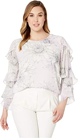 Plus Size Tiered Ruffle Sleeve Pagoda Blossoms Blouse