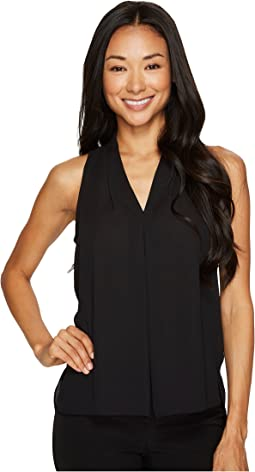 Vince Camuto Specialty Size - Petite Sleeveless V-Neck Blouse with Inverted Front Pleat
