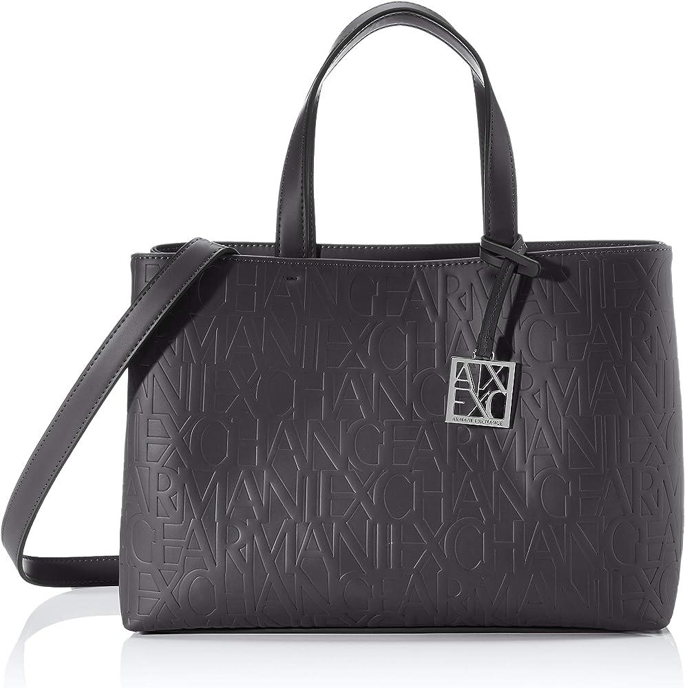 Armani exchange, liz  medium open shopping, borsa per donna, in pelle sintetica con logo impresso  942646CC793