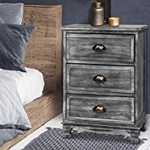 Artiss Vintage Bedside Table, Wooden Bedside Cabinet, Grey