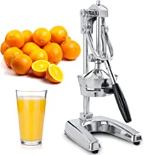 Zulay Professional Citrus Juicer - Chrome Finish Manual Citrus Press and Orange Squeezer - Metal Lemon Squeezer - Extra Tall Heavy Duty Manual Orange Juicer and Lime Squeezer Press Stand