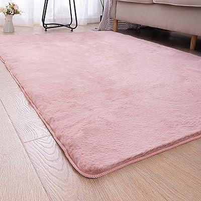 CHOZAN カーペット 模造ウサギ毛皮 高密度 ラグマット ふわふわ シャギーラグ 肌触り良い絨毯 防ダニ 滑り止め付 抗菌 防臭 冷房・床暖房対応 (ピンク, 120*160cm)