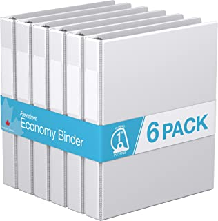 "Premium Economy, Angle D Ring, Binder, 6 Pack (1"", White)"