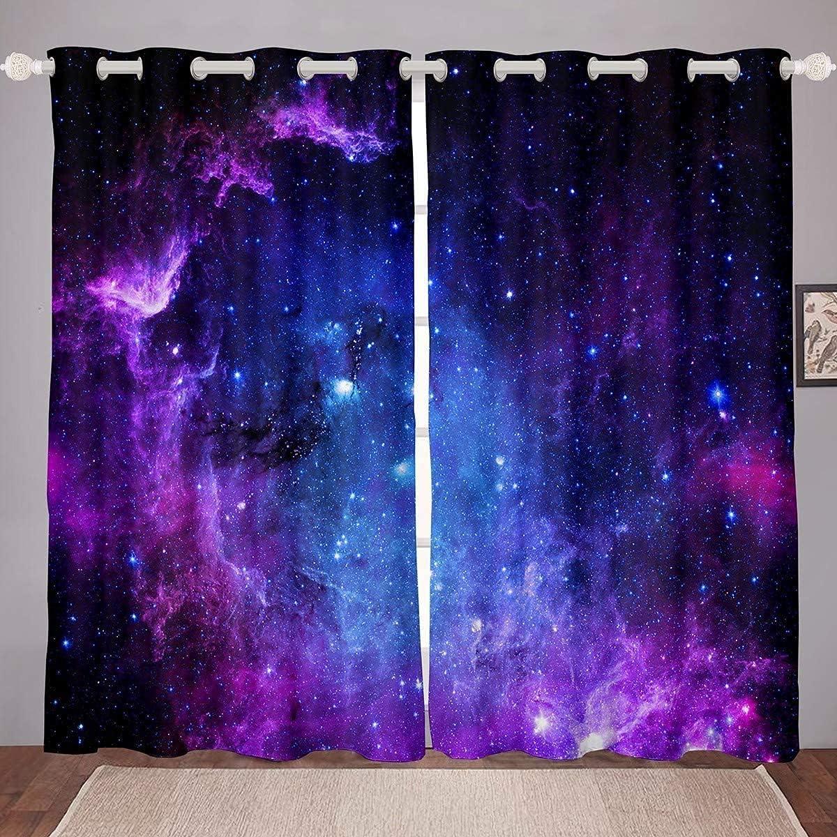 JOOCAR Blue Purple Starry High material Sky Blackout Grommet Insulate Super intense SALE Curtains