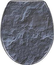 WENKO WC-bril Slate Rock - antibacteriële toiletbril, met Easy-Close softclosemechanisme, Duroplast, 36,5 x 44,5 cm, meerk...