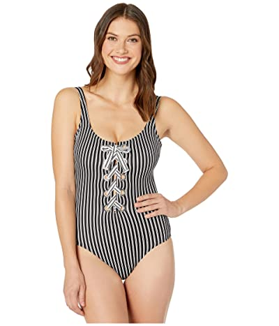 MICHAEL Michael Kors Stripe Lace-Up Front One-Piece with Grommets Removable Soft Cup (Black) Women