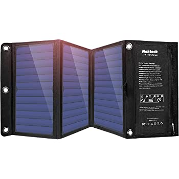 Nekteck 21W Portable Solar Panel Charger, Waterproof Camping Gear Solar Powered Charger with 2 USB Port for iPhone X/8 Plus, Samsung Galaxy s9/s8,iPad, Tablet and Any USB Devices