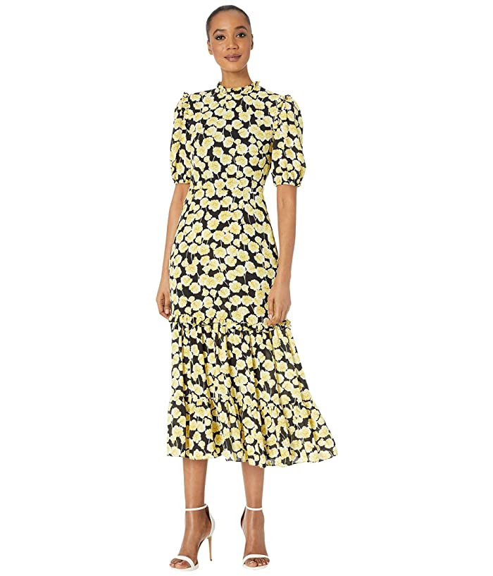 500 Vintage Style Dresses for Sale | Vintage Inspired Dresses Donna Morgan Short Ruffle Sleeve Georgette Dress with Tiered Skirt and Ruffle Neck YellowBlack Womens Clothing $82.80 AT vintagedancer.com