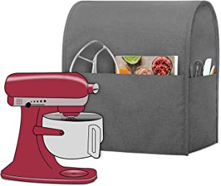 Luxja Dust Cover Compatible with 6-8 Quart Stand Mixer, Cloth Cover with Pockets for Stand Mixer and Extra Accessories (Compatible with 6-8 Quart Stand Mixer), Gray