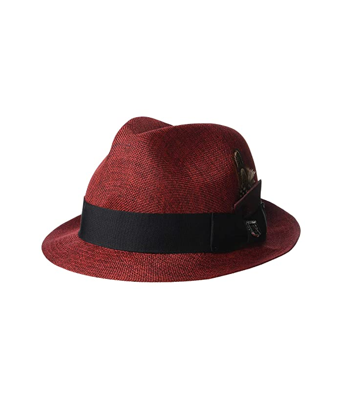 Stacy Adams Matte Toyo Fedora (Burgundy) Fedora Hats